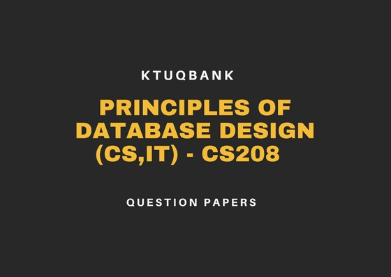 Principles of Database Design | CS208 | Question Papers (2015 batch)
