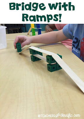 "First Grade STEM: Some groups that made ramps because, ""You have to drive up on the bridge!"" There were some kids that used extra cubes to hold the ramps in place since they did tend to slide. Check this blog post for more!"