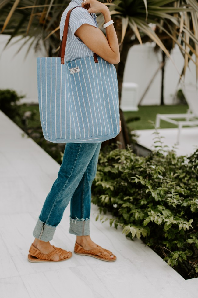 Striped canvas tote - One little momma