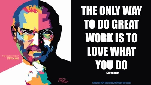 "Picture quote featured in the article ""Steve Job Quotes On Life"": a selection of the best 50 Steve Jobs Quotes on Life. This one is: ""The only way to do great work is to love what you do."""
