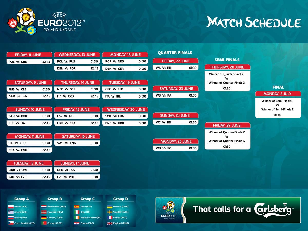 Euro Cup Football 2012 Schedule in Nepali time