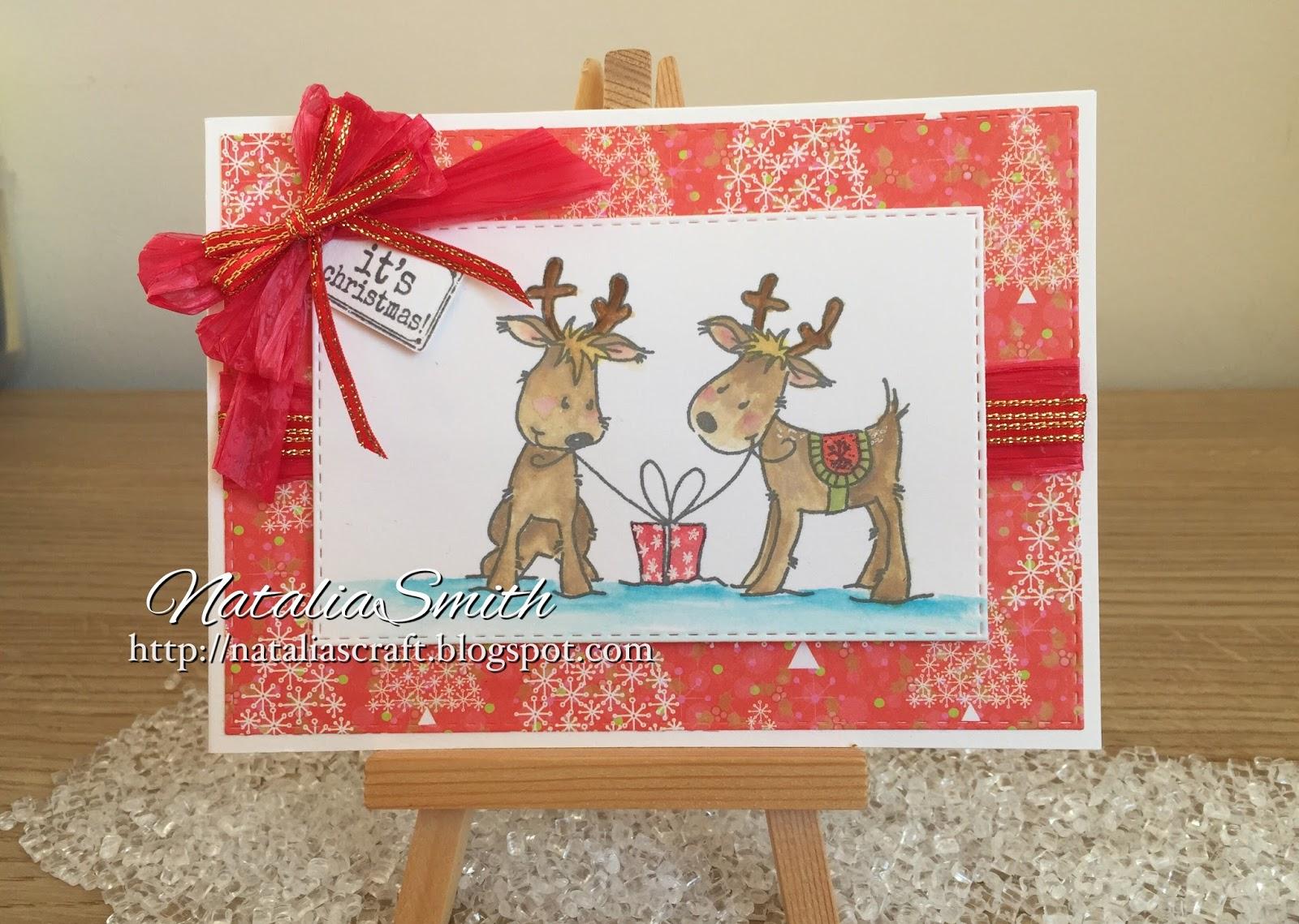 Nataliascraft reindeer christmas cards for Reindeer christmas card craft