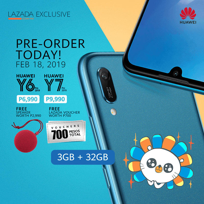 Pre-order Huawei Y6 Pro 2019 and Y7 Pro 2019 today to get FREE Bluetooth speaker and vouchers up to worth PHP 700!