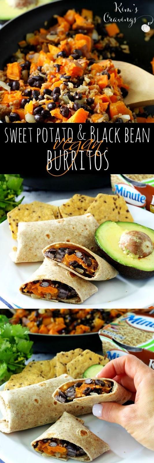 Sweet Potato And Black Bean Vegan Burritos #sweetpotato #potato #blackbean #burritos #vegan #veggies #veganrecipes