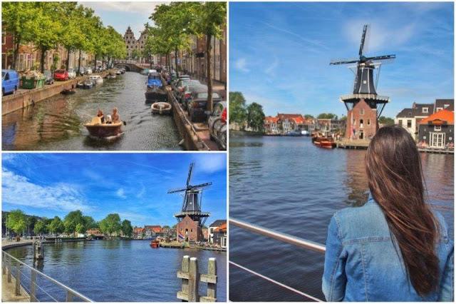 Canal, molino de viento De Adriaan en Haarlem