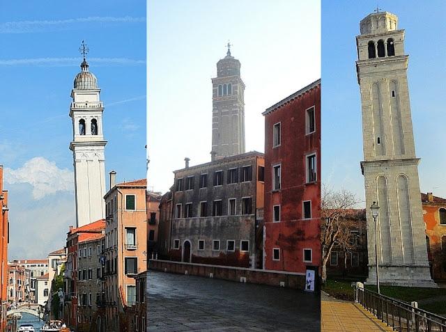 Tři nejznámější šikmé věže v Benátkách