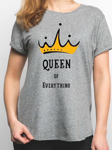 Women Queen Of Everything Grey T-shirt