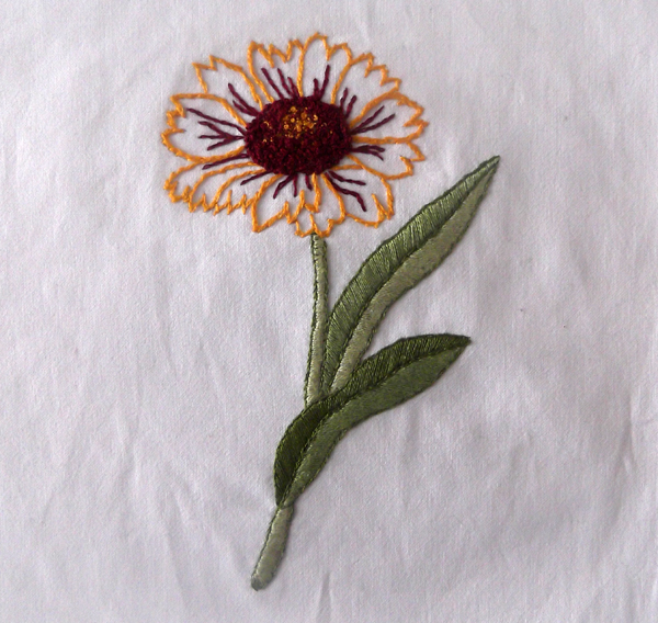 embroidery, stitching, flower, floral, leafs
