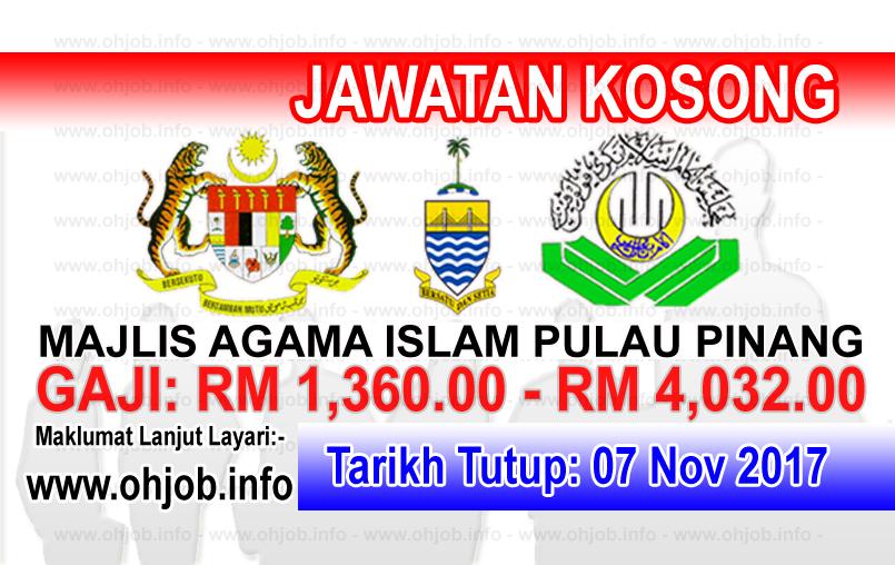 Jawatan Kerja Kosong MAINPP - Majlis Agama Islam Negeri Pulau Pinang logo www.ohjob.info november 2017