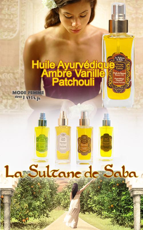 Huile de massage ayurvédique et soin du corps Ambre Vanille Patchouli LA SULTANE DE SABA