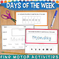 days of the week resource with options for differentiated instruction