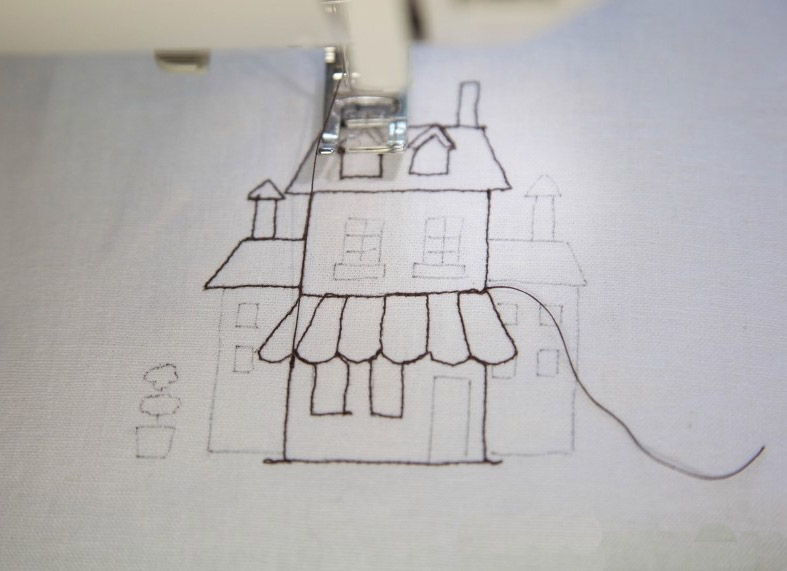 Drawstring Bag. How to create illustrated fabric with plain white linen.
