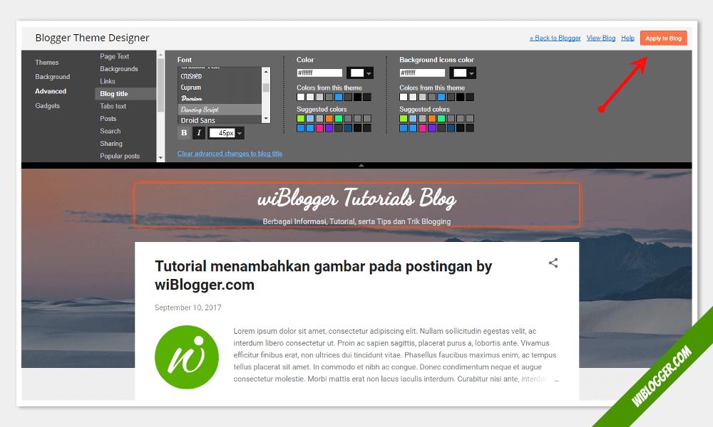 cara mengganti font judul blog