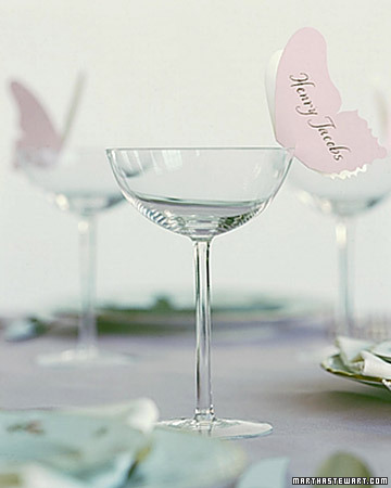 Diy butterfly place cards setting for four for Martha stewart butterfly template