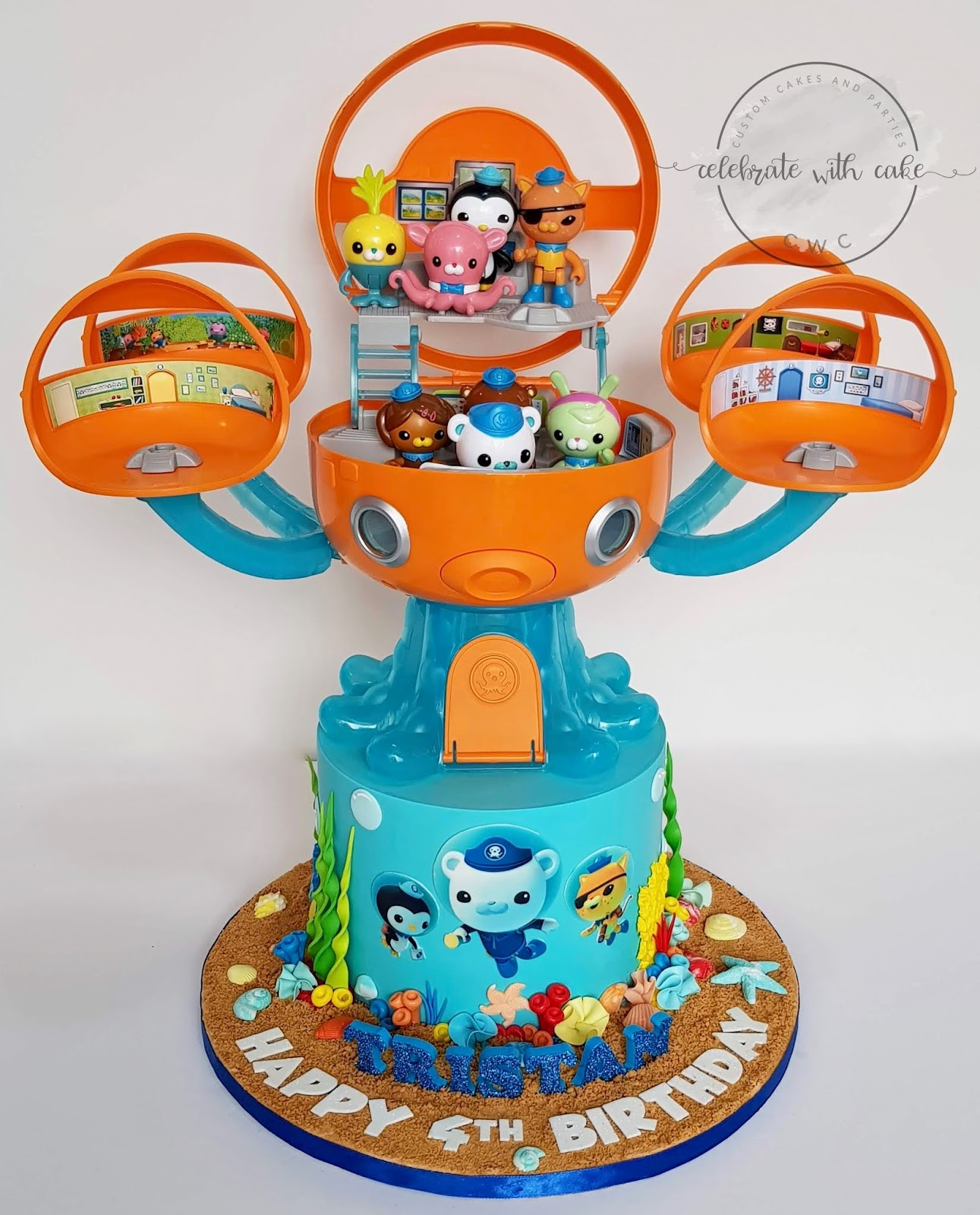 Incredible Celebrate With Cake Octonauts Single Tier With Toy Octopod Cake Personalised Birthday Cards Veneteletsinfo
