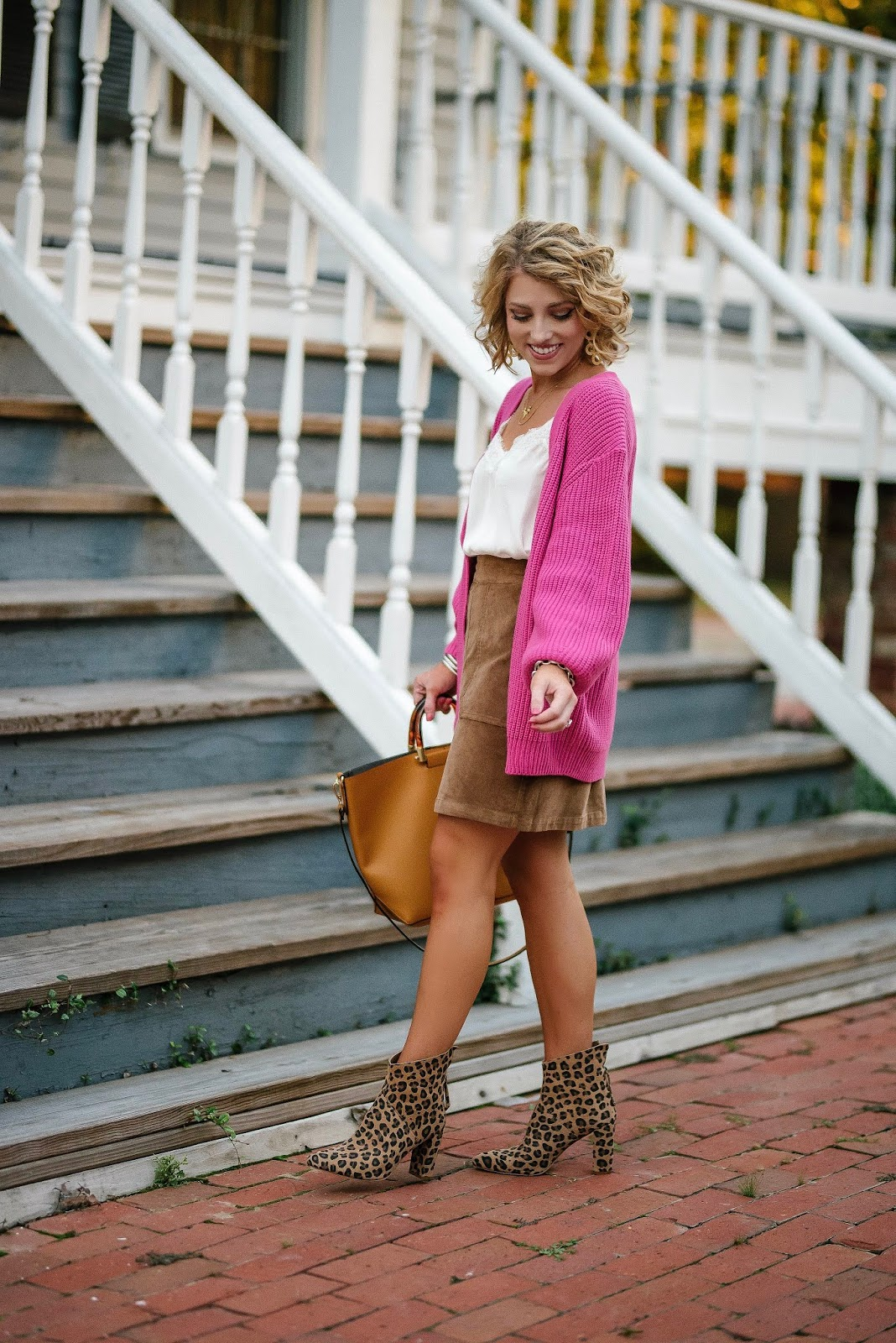 Fall Style: Under $50 Hot Pink Cardigan, $51 Brown Cord Skirt & Leopard Boots - Something Delightful Blog