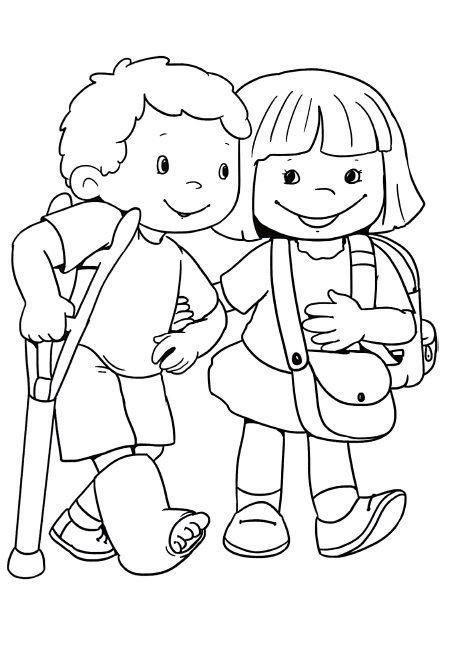 Tranh cho bé tô màu đôi bạn giúp đỡ nhau