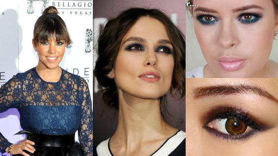 Maquiagem com lápis de olhos azul marinho