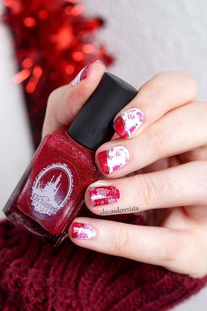 nail art Noël 2017 rouge et blanc