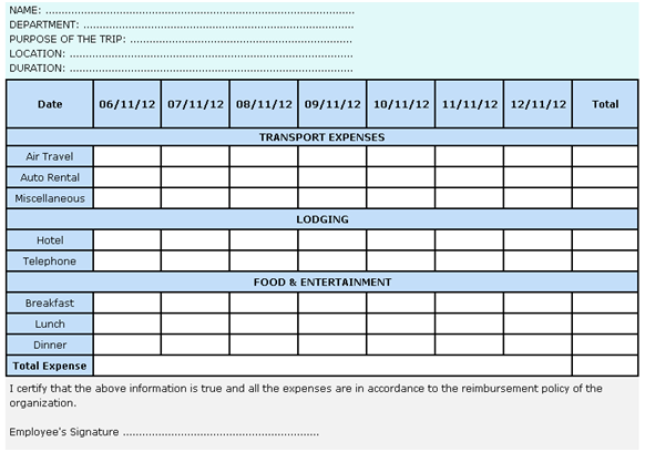 Calculation Basis Travel Expense Report Format