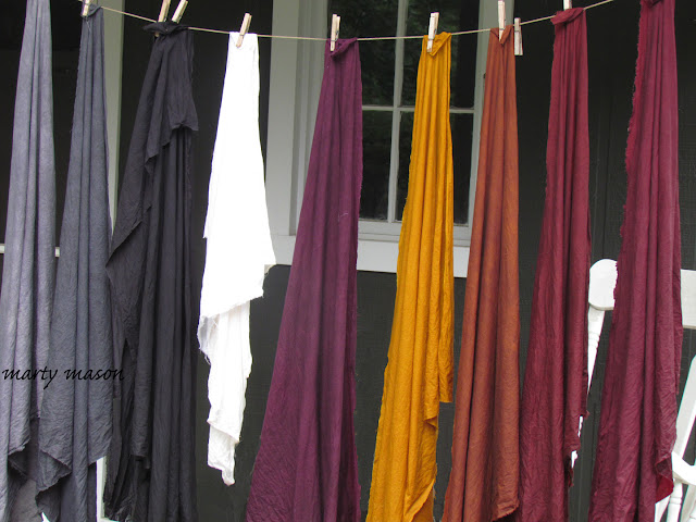 Cherrywood hand dyed fabrics  hanging out to dry