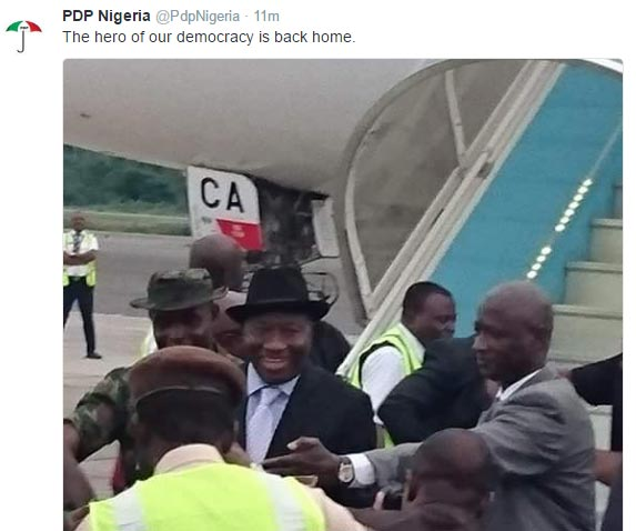 Ghen Ghen! Goodluck Jonathan finally lands in Nigeria