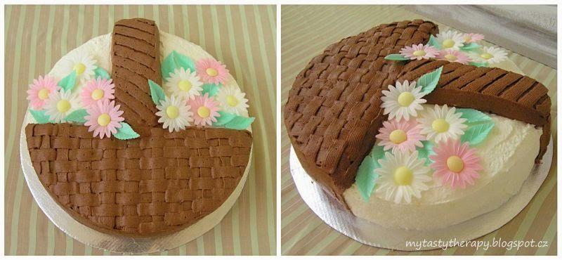kulatý dort - košík s květinami