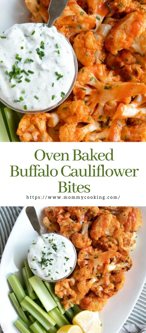 Oven Baked Buffalo Cauliflower Bites #vegetarian #recipe