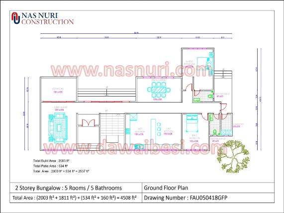 Pelan Rumah Banglo 2 Tingkat bali plan tingkat bawah