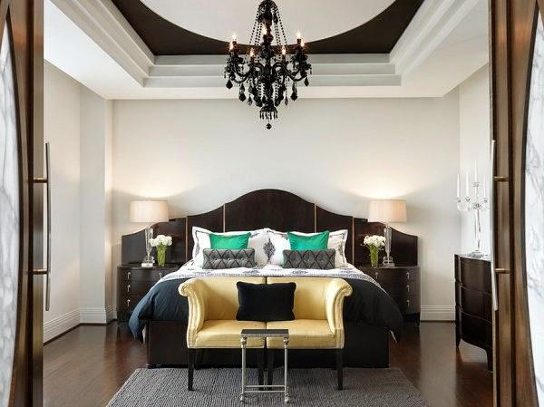Schwarze Schlafzimmer möbel Luxus Kronleuchter Sitzbank ...