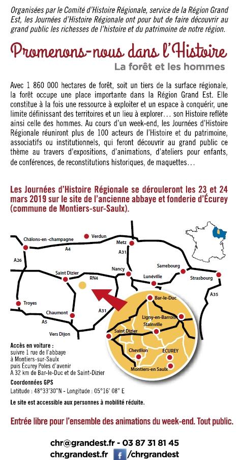 MONTIERS-SUR-SAULX (55) - 14e Journées d'histoire régionale (23-24 mars 2019)