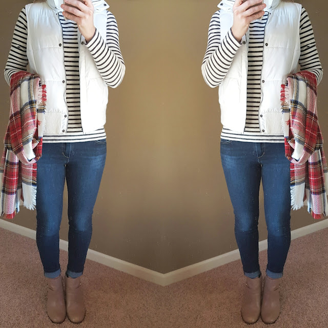 Gap Striped Top (similar) // Merona Puffer Vest (this year's version) // Joe's Jeans - 40% off! // Merona Scarf // Cole Haan Booties