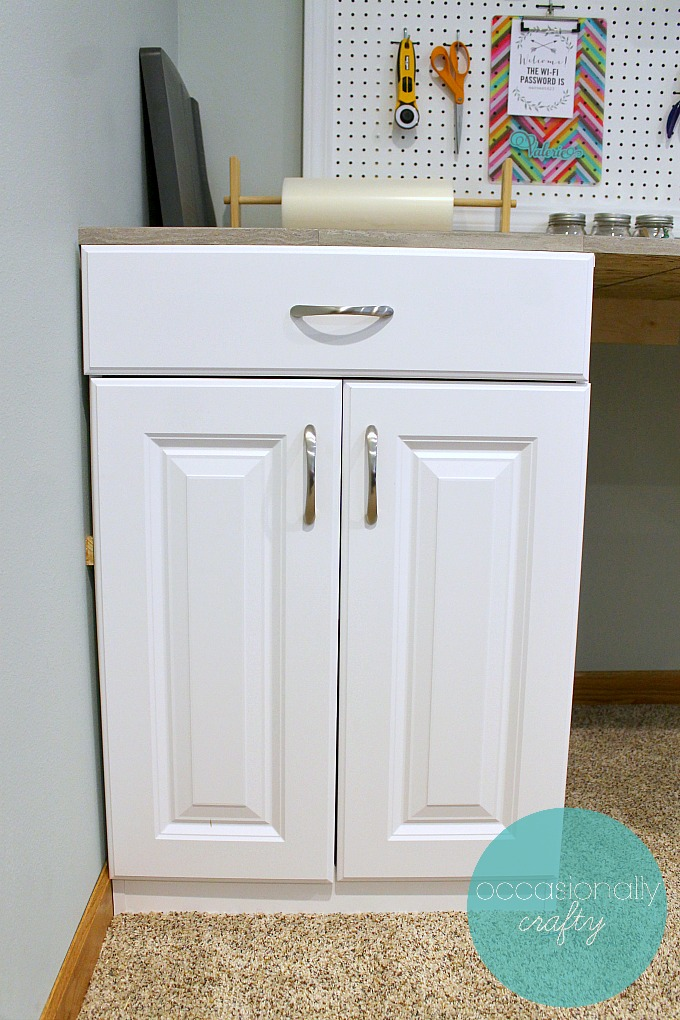 Use stock cabinets to DIY your custom craft table