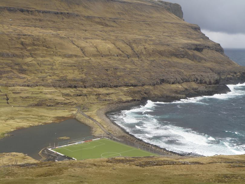 Eidi stadium Faroe islands is located just a few meters from the Atlantic Ocean,Eidi Stadium, Faroe Islands Stadium, faroe islands football stadium, faroe islands soccer stadium