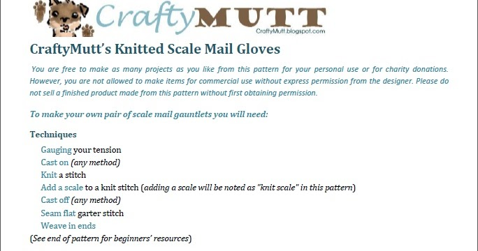 Crafty Mutt: Actual Progress on Scale Mail Gloves Pattern