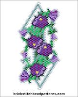 Free brick stitch seed bead bracelet charm pattern charts.