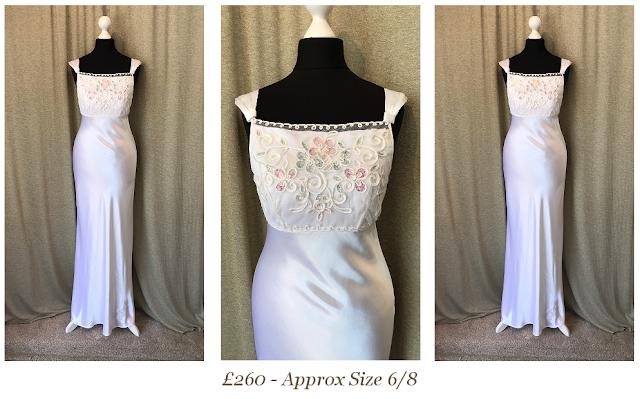 bias cut size 6/8 liquid satin 1920's gatsby style vintage wedding dress