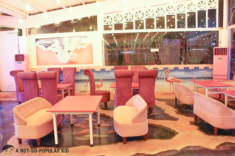 Vibrant interior of Pink Bird in Quezon City
