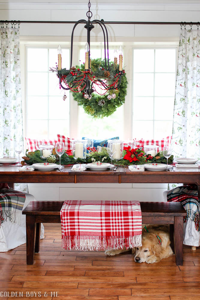 Christmas Dining room with shiplap, classic decor and plaid