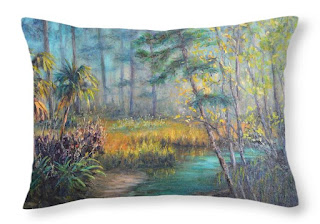 Nature Throw pillow with marsh and gold grasses and trees