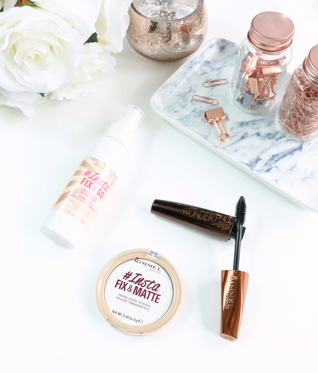 Rimmel #Insta Collection including the Fix & Go 2 in 1 Primer & Setting Spray, Fix & Matte Translucent Powder and the Wonderfull Mascara with Argan Oil.