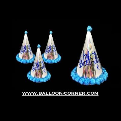 Topi Ulang Tahun Kerucut Metalik Pom Pom (Biru)