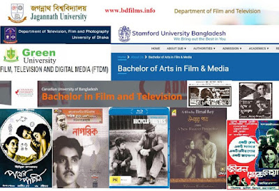 Film studies in Bangladesh are increasing day by day. In the 1950s, cinema was officially started to be made in Bangladesh. Most Directors are inspired in film making from French, Italian, Germany, British, American and Indian Film directors. Indian directors get inspiration from those countries's directors. Though film making is started in Bangladesh in 1950s, films are directed mostly in 1960s, 1970s, 1980s and 1990s. These are the golden era of Bangladeshi film making history. But less famous and important films are directed for film studies. Before one or two decades, there were no approaches or thought about film studies. But After 2010s, film making and film studies are the noticed hugely. And it is increasing day by day. The govt. has opened many institutes for Television and media, some other public universities have opened departments about film studies and media. For example, Dhaka University has opened its department called 'Television, Film and Photography Department'. Besides, Jagannath University, Jahangir Nagar University, some govt. institutes and private universities have opened Televison, film, media studies department and started some short time training courses. Bangladesh Film Institute (BFI) offers some film making courses. Bangladesh Institute of Journalism and Electronic Media (BIJEM) offers short time courses. Jagannath University has opened 'Department of Film and Television'. Creative Institute opens its private courses about film making. Besides, the private universities like Green University starts its department 'Film, Television and Digital Media'. Stamford University Bangladesh begins its department 'Film & Media'. Canadian University of Bangladesh opens 'Film and Television Department'. Independent University, Bangladesh starts 'Department of Media and Communication'. Thus film students are increasing in Bangladesh to challenge and face with the global cinema. In the classic era, film was not study or it is not a course or department as film studies. But in 2010s, Govt. and  private sectors have given importance on film studies. There are less cinemas which can be studied as the language of cinema in Bangladesh. But the Bangladeshis have got some famous and ideal cinemas which are the subjects of film studies. But foreign cinemas of the above countries are also used as the language of film studies in Bangladesh. There are some important and famous cinemas which are studied as the mother of film language. Some of them are written below.                                      List of movies for film club  1/ Hugo by Martin Scorsese…………………….film history  2/ The Artist by Michel Hazanavicius………..film history  3/ Citizen Cane by Orson Welles……………....film form, Cinematography, editing  4/ The Wizard of Oz by L. Frank Baum & others………..film form  5/ North by Northwest  by Hitchcock……………..screenplay/film narrative  6/ The 400 Blows by Francois Truffaut…………….screenplay/film narrative/new wave  7/ The Birds by Hitchcock…………………………………..story board  8/ Indiana Jones and the Raiders of the Lost Ark by Steven Spielberg....film technique (especially for sound track)  9/ ET by Steven Spielberg………………………..screenplay/film narrative  10/ Rashomon by Akira Kurosawa……………………screenplay/film narrative  11/ Amelie by Jean-Pierre Jeunet (Cinematographer Bruno Delbonnel)……cinematography  12/ Lawrence of Arabia by David Lean (cinematographer Freddie Young)………cinematography, editing  13/ I am Cuba by Mijail Kalatozov ……………….Avant-Garde/Experimental film  14/ The Mirror by Andrey Tarkovskie……… Avant-Garde/Experimental film  15/ Bicycle Thieves by Vittorio De Sica……………..Italian Neorealist film  16/ Paisa by Roberto Rossellini……………….. Italian Neorealist film  17/ The Cabinet of Doctor Caligari by Robert Wiene…… German expressionist film  18/ Psycho by  Hitchcock…………………………..inspired expressionist film  19/ Dracula by Francis Ford Copolla……………….inspired expressionist film  20/ Offside by Jafar Panahi………………………………….new wave film  21/ Taste of cheery by Abbas Kiarostami………………….new wave film  22/ The Battle of Algiers by Gillo Pontacorvo…………..third cinema  23/ City of God by Farnando Meirelles (Brazil)…………..third cinema  24/ Pather Panchali by Satyajit Ray………………………..Masterpiece of Bengal  25/ Udayar Pathey (1944) by Bimal Roy  26/ Nagarik(1952) by Ritwik Ghatak    27/ Naya Sansar(1941) by N.R. Acharya, story by Khwaza Ahmed Abbas (Bangladesh) …….inspired by pather panchali  28/ Jibon Thekey Neya (1970) by Zahir Raihan…  29/ Surya Dighal Bari (1979) by Sheikh Niamat Ali..