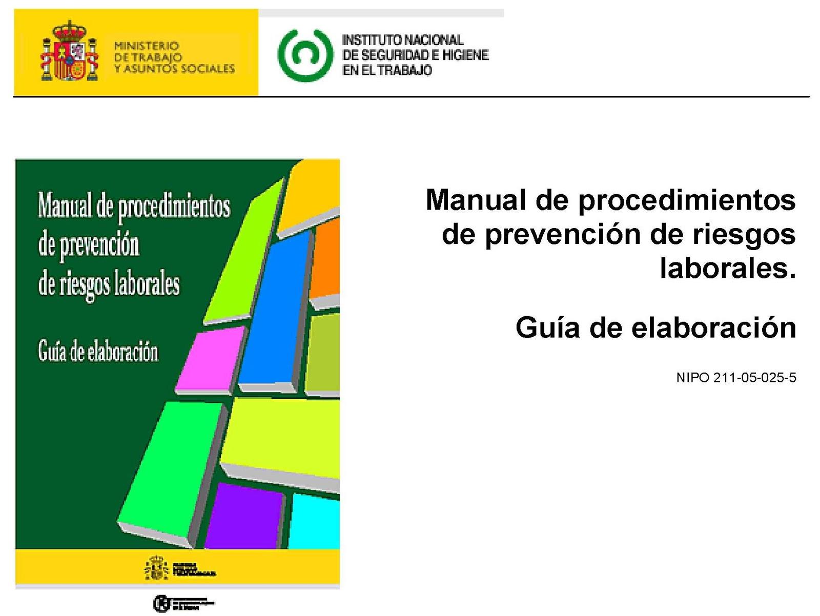 Manual de procedimientos de prevención de riesgos laborales: Ejemplos y Cuestionarios