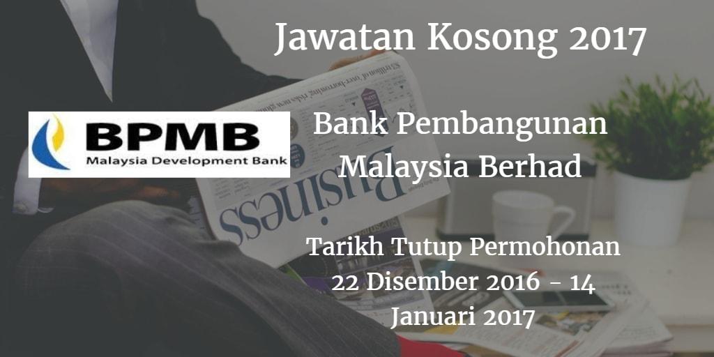Jawatan Kosong BPMB 22 Disember 2016 - 14 Januari 2017