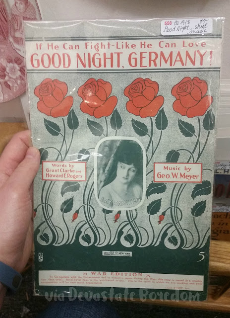 Retro double entendre? haha!  If He Can Fight Like He Can Love, Good Night, Germany! WWI Historical Sheet Music - World War I History - Funny, weird, bizarre, and hilarious -- I've seen lots of crazy things in Dallas TX, and I've got photos to prove it!  Explore a thrift store / antique shop with me, and see all the strange stuff formerly lurking in Texans' closets and attics!  via Devastate Boredom