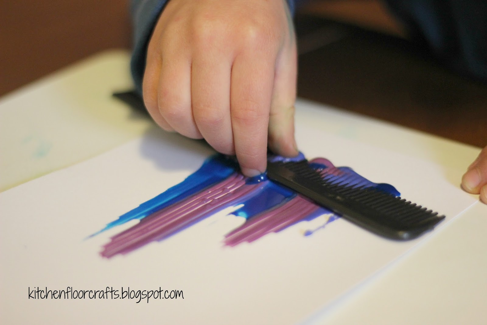 Kitchen Floor Crafts Comb Painting With Kids