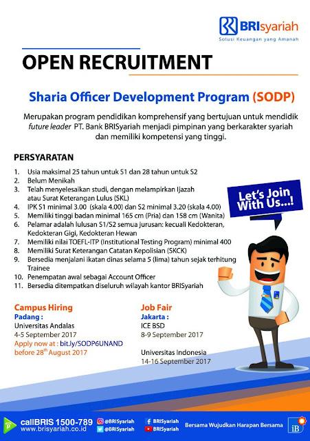 Lowongan Kerja Terbaru BRI Syariah Tahun 2017 - Sharia Officer Development Program (SODP)