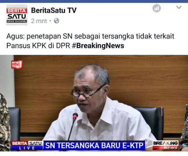 Breaking News, KPK Resmi Tetapkan Ketua DPR RI Setya Novanto Sebagai Tersangka