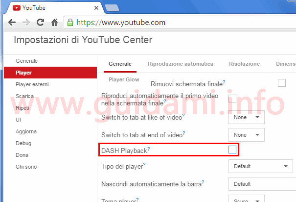 Chrome e Opera opzione DASH Playback estensione YouTube Center